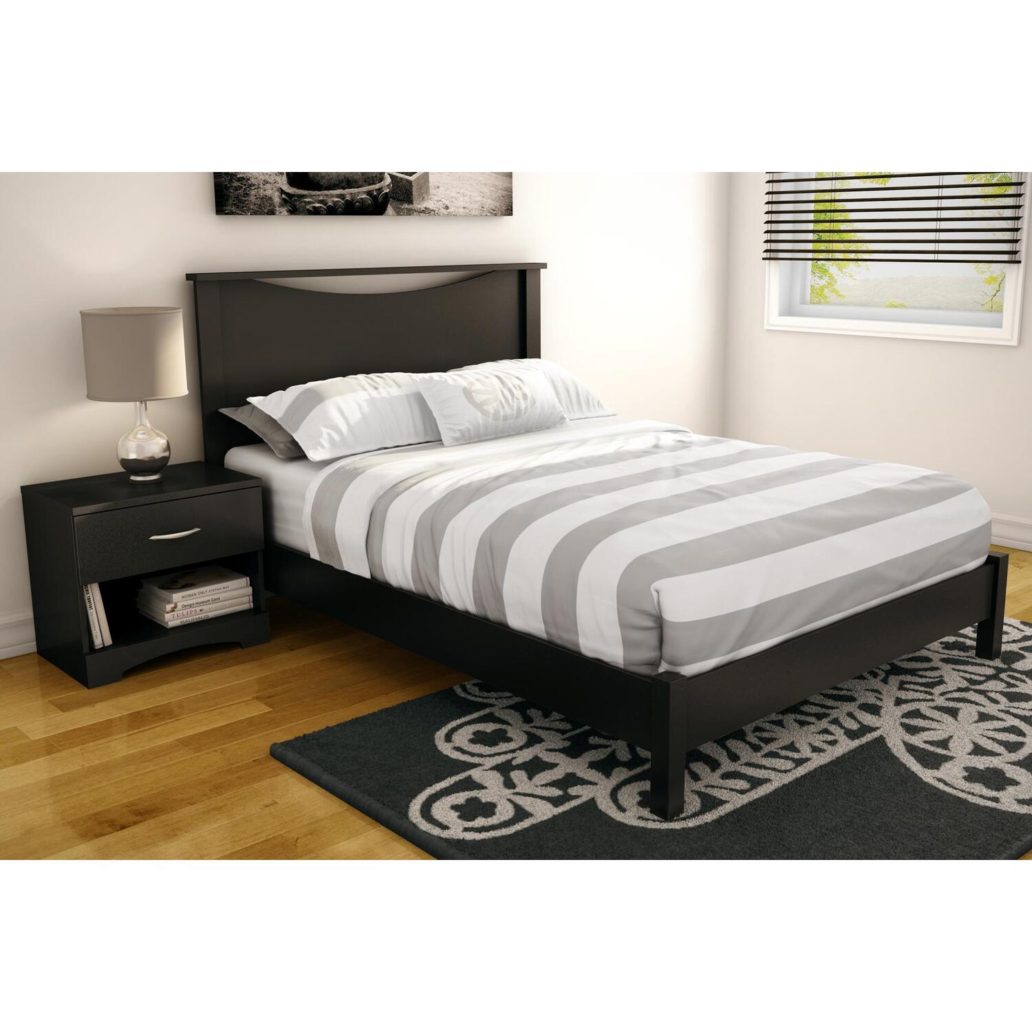 Step One Full Platform Bed Amp Headboard In Pure Black