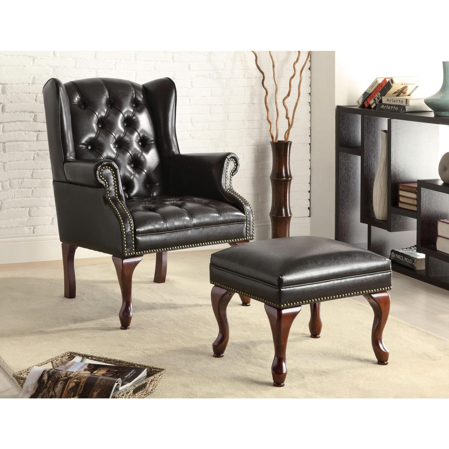Coaster Traditional Espresso Accent Chair And Ottoman Black Traditional Espresso