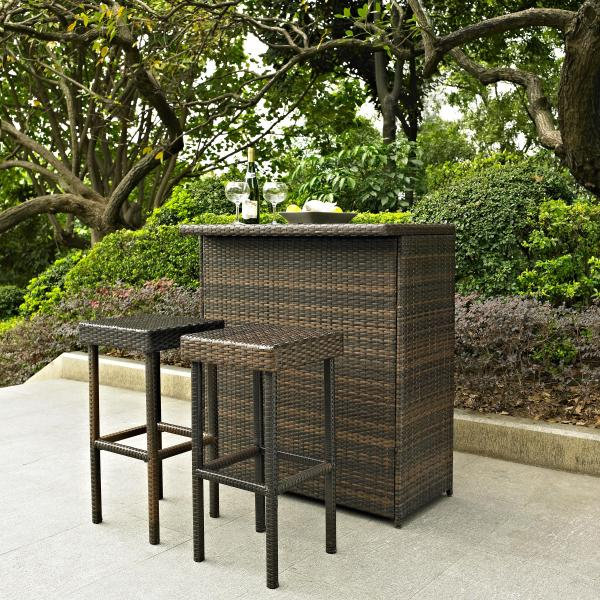 outdoor patio bar sets Palm Harbor 3 Piece Outdoor Wicker Bar Set - Table & Two