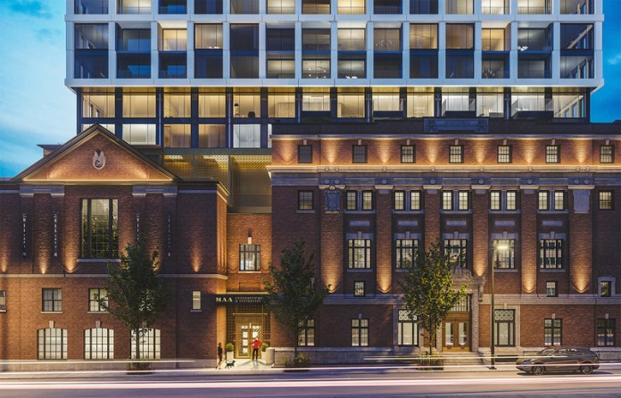 Press kit | 618-12 - Press release | LEMAYMICHAUD Rewarded With a Popular Choice Award at the 2021 Architizer A+Awards! - LEMAYMICHAUD Architecture Design - Residential Architecture - Rendering - MAA Condominiums & Penthouses' entrance - Photo credit: Devimco Immobilier