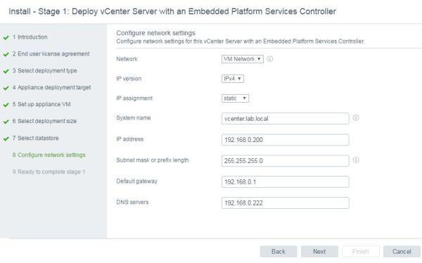 Install VCSA 6.5 - VCSA configure network