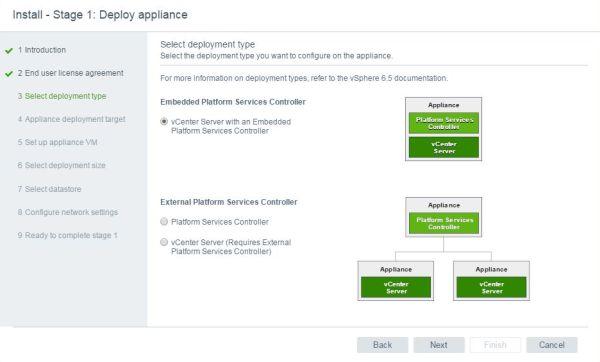 Install VCSA 6.5 - VCSA select deployment type