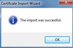 vCenter SSL Certificate - Certificate Wizard OK