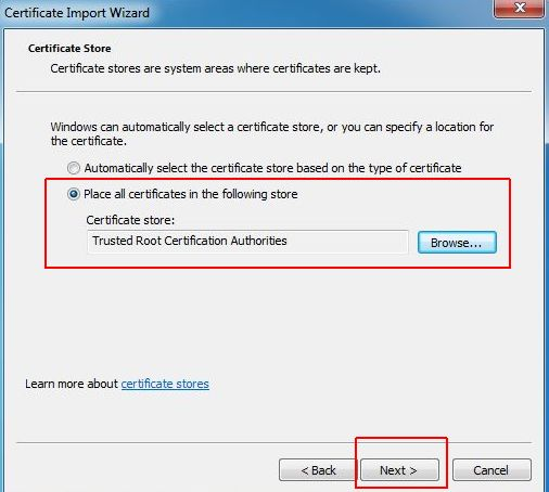 vCenter SSL Certificate - Choose Certificates Store