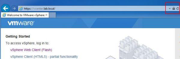 vCenter SSL Certificate - Internet Explorer OK