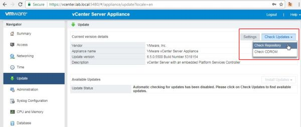 Update vCenter Server Appliance - Check Repository