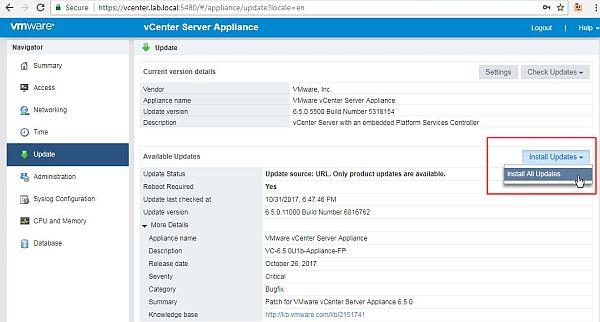 Update vCenter Server Appliance - Install All Updates