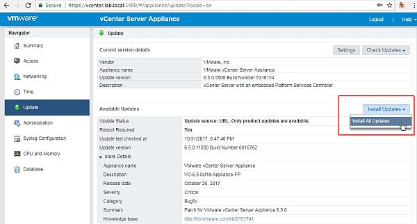 Update vCenter Server Appliance - Install All Updates