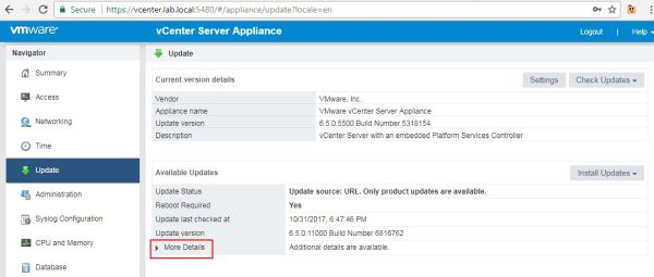 Update vCenter Server Appliance - More Details