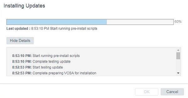 Update vCenter Server Appliance - Running PreInstall Scripts