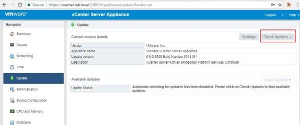 Update vCenter Server Appliance - Update