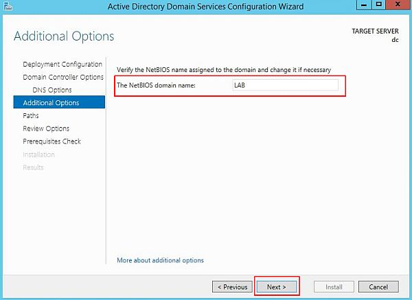 Install Active Directory - Additional Options