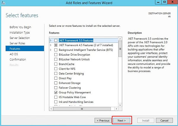 Install Active Directory - Features