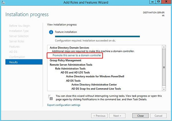 install active directory installation complete
