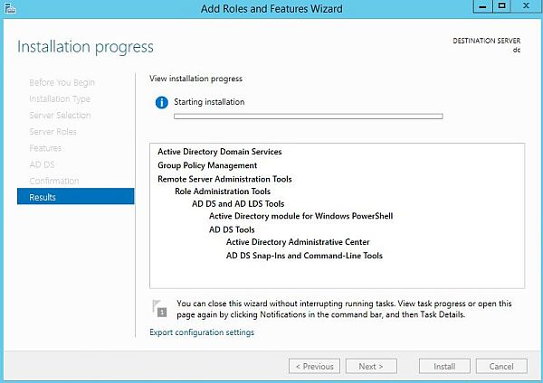 Install Active Directory - Installation Progress