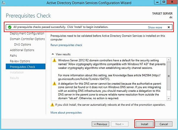Install Active Directory - Prerequisites Check