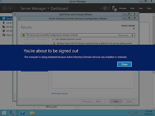 Install Active Directory - Reboot