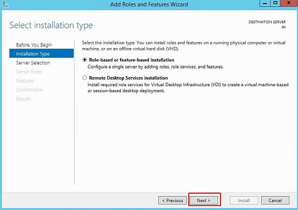 Install Active Directory - Select Installation Type