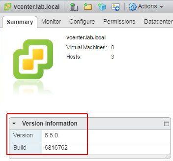 Update vCenter Server Appliance - Initial Version
