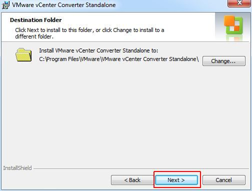 vCenter Converter Standalone - Destination Folder