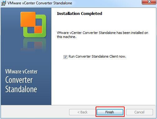 vCenter Converter Standalone - Finish
