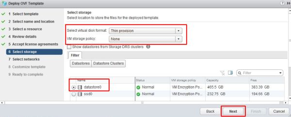 Install vRealize Suite Lifecycle Manager - Select Storage