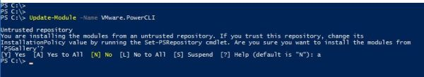 Update PowerCLI 10.1.0 -Windows