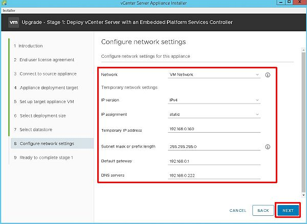 Upgrade vCenter Server Appliance from 6.5 to 6.7 - Configure Network Settings