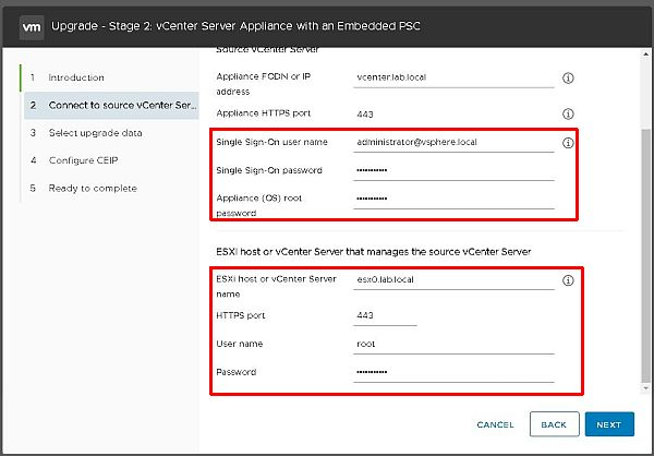 Upgrade vCenter Server Appliance from 6.5 to 6.7 - Credentials