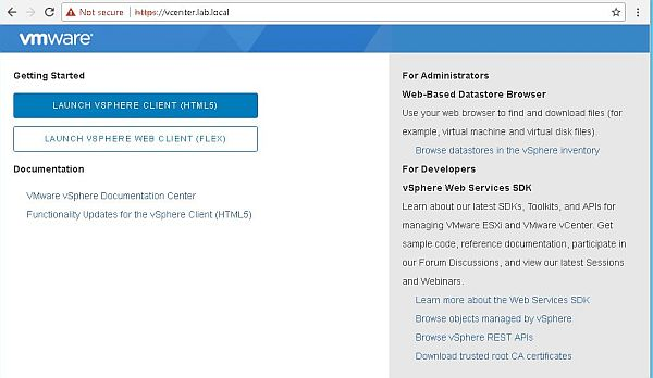 Upgrade vCenter Server Appliance from 6.5 to 6.7 - Launch Page