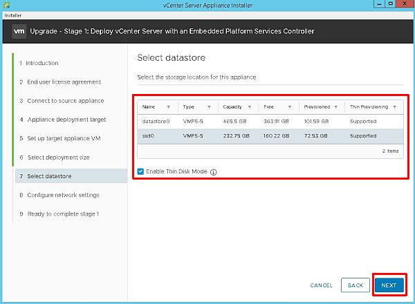 Upgrade vCenter Server Appliance from 6.5 to 6.7 - Select Datastore