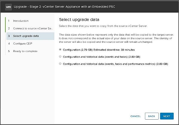 Upgrade vCenter Server Appliance from 6.5 to 6.7 - Select Upgrade Data