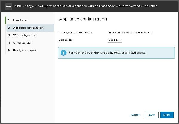 Install VCSA 6.7 - Appliance Configuration