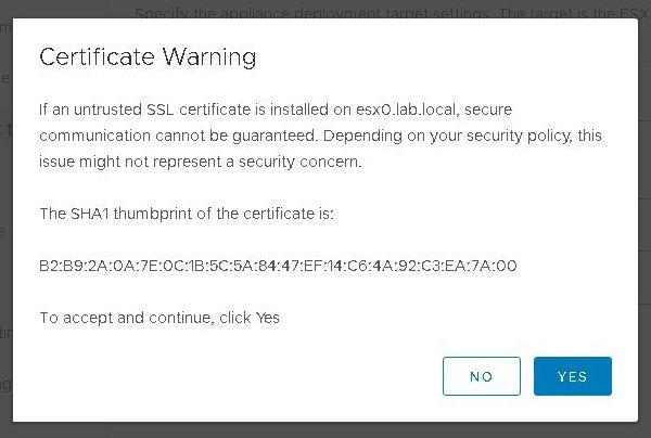 Installer VCSA 6.7 - Avertissement de certificat