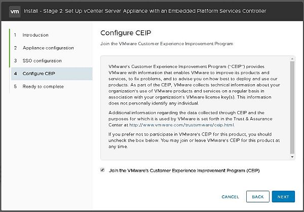 Install VCSA 6.7 - Configure Customer Experience Improvement Program