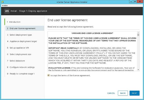 Install VCSA 6.7 - End User License Agreement