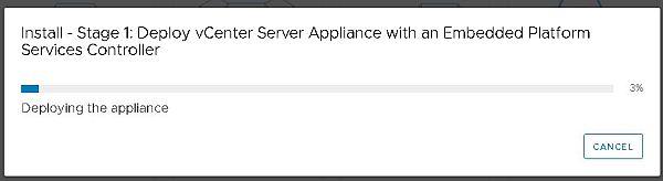 Installez VCSA 6.7 - Installez l'étape 1