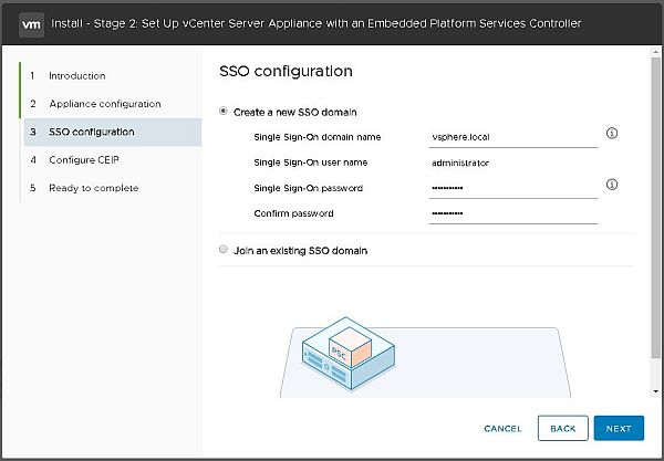 Installer VCSA 6.7 - Configuration SSO