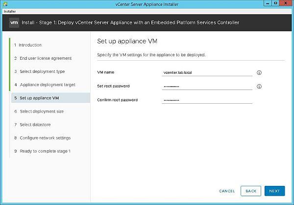 Install VCSA 6.7 - Setup Appliance VM