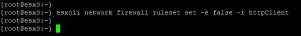 Upgrade ESXi from 6.5 to 6.7 with Command Line - Disable Firewall Rule