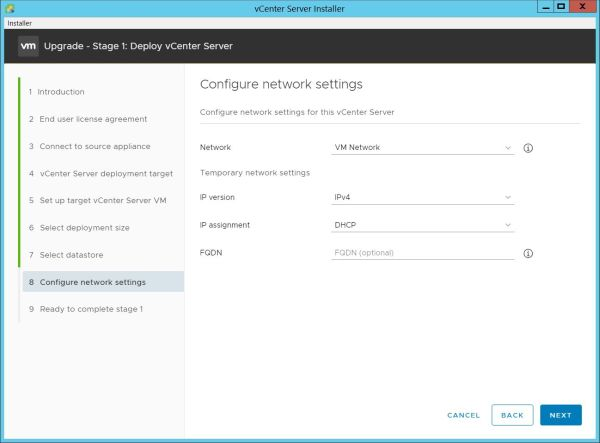 Upgrade vCenter Server Appliance from 6.7 to 7.0 - Configure Network Settings