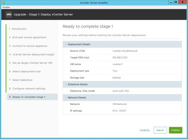 Upgrade vCenter Server Appliance from 6.7 to 7.0 - Ready to Complete Stage 1
