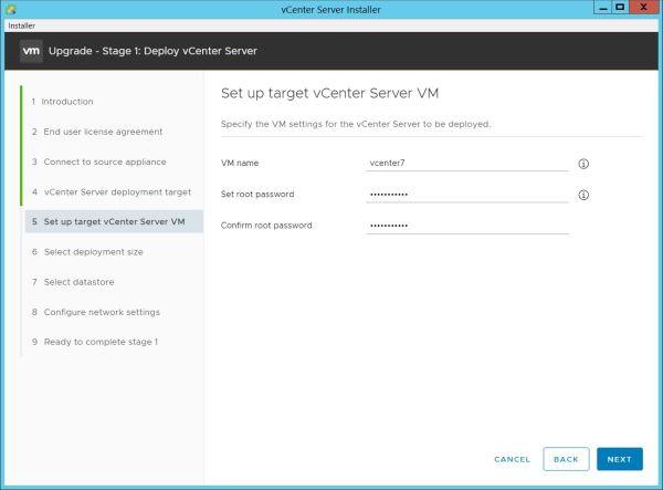 Upgrade vCenter Server Appliance from 6.7 to 7.0 - Setup Target Appliance VM