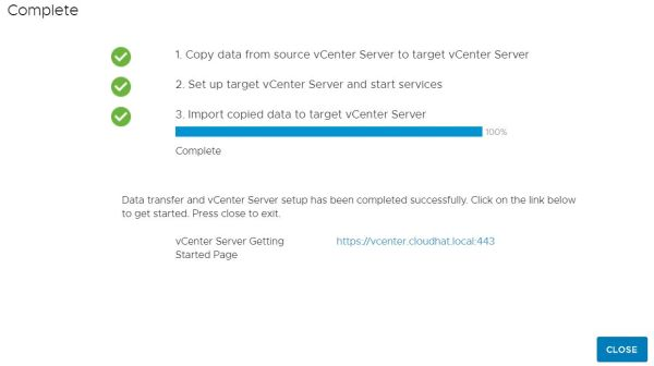 Upgrade vCenter Server Appliance from 6.7 to 7.0 - Stage 2 Completed