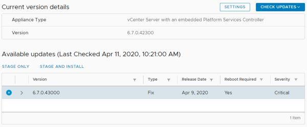 VMware vCenter Server 6.7 Update 3f - Check Update Availability
