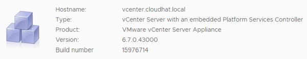 VMware vCenter Server 6.7 Update 3f - Status