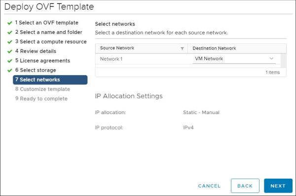 vRealize Orchestrator - Select Networks