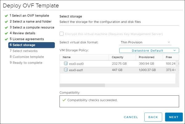 vRealize Orchestrator - Select Storage