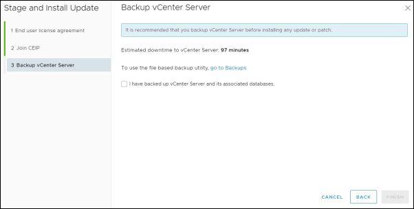 vCenter Server 7.0.0a - Backup