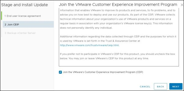 vCenter Server 7.0.0b - Customer Experience Improvement Program